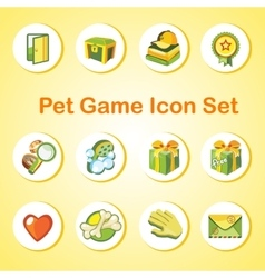 Game icon set with 12 objects in the same style vector