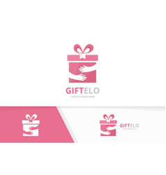 Gift and hands logo combination present vector
