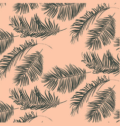 Green palm leaves pattern vector