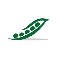 Green seed pea pod logo template design vector