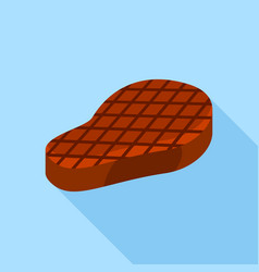 grilled steak icon flat style vector image