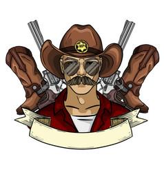 hand drawn sketch cowboy icon vector image