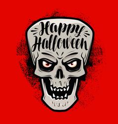 happy halloween greeting card scary skull vector image