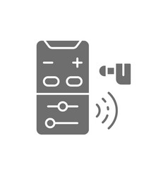 Hearing aid control panel gray icon isolated on vector