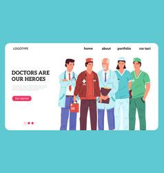 hero doctors banner thank you nurses and doctors vector image