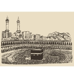 Holy Kaaba Mecca Saudi Arabia muslim people sketch vector image