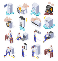 Home appliance isometric set vector