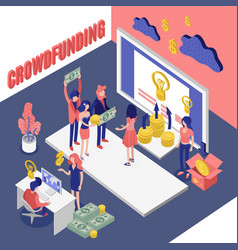 Isometric crowdfunding project background vector