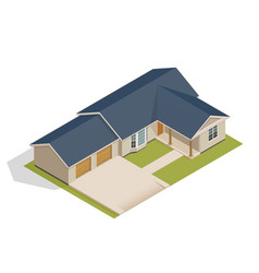 isometric suburban house with double garage vector image