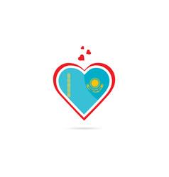 Kazakhstan country flag inside love heart vector