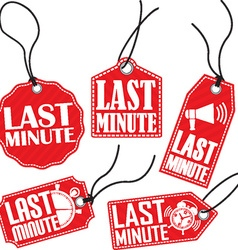 Last minute red tag set vector image