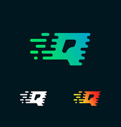 letter q modern speed shapes logo design vector image