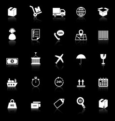 logistics icons with reflect on black background vector image
