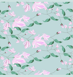 magnolia flower blossom seamless pattern vector image