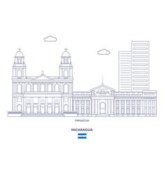 managua city skyline vector image