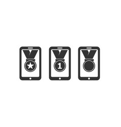medal icons with mobile phone vector image