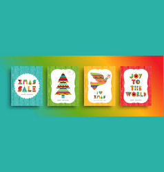 merry christmas colorful geometry shape card set vector image