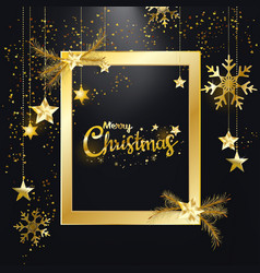 Merry christmas golden glitter frame decor vector