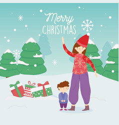 Merry christmas mom and son with gifts trees snow vector