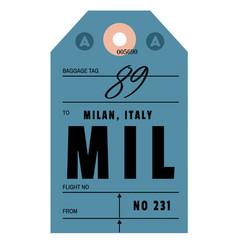 Milan airport luggage tag vector