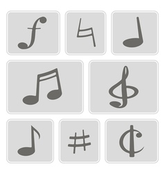 monochrome icons with musical symbols vector image