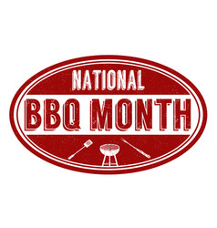 national bbq month sign or stamp vector image