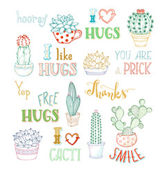 Outlined hand-drawn cacti and lettering on white vector