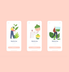 People drinking matcha tea mobile app page onboard vector