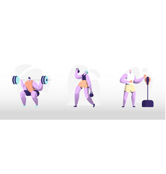 people training in gym male and female characters vector image