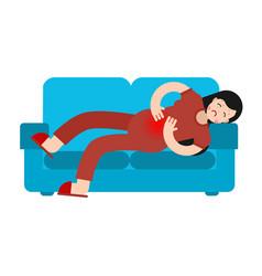 Pms menstrual pain girl on sofa woman suffering vector