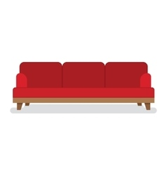 Red leather sofa for living room vector