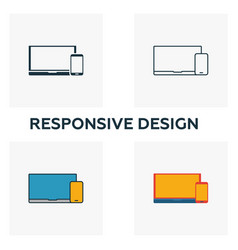 responsive design icon set four elements in vector image