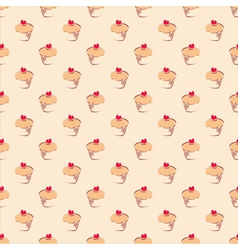 Seamless pattern background with sweet cupcakes vector image