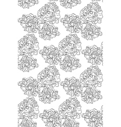 Seamless pattern black and white peonies flowers vector