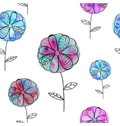 seamless pattern with pink blue flowers of vector image