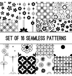 Set of black and white intricate patterns vector