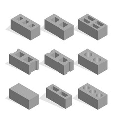 Set of isometric cinder blocks vector