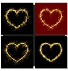 Set of Valentines day cards background with gold vector image