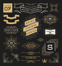 set retro vintage graphic design elements vector image