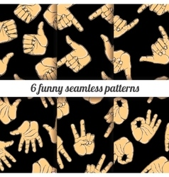 Set with funny seamless patterns vector