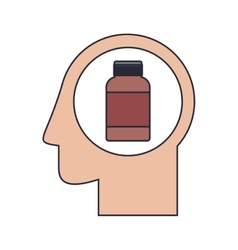Silhouette head human with remedy bottle vector