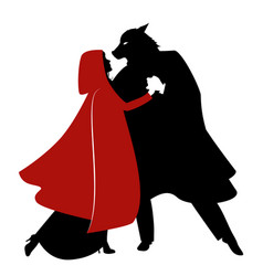 Silhouettes of little red riding hood and the vector