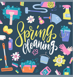 spring cleaning lettering decorating vector image