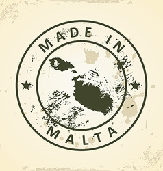 Stamp with map of Malta vector
