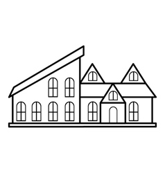 Stylish house icon outline style vector image