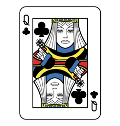 Stylized Queen of Clubs vector