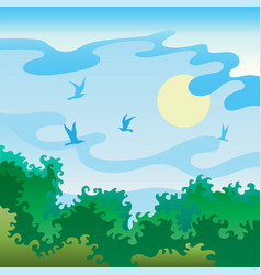 summer landscape with birds vector image
