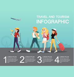 travel and tourism with friend at airport vector image