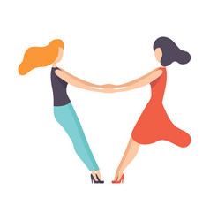 two beautiful women friends holding hands happy vector image