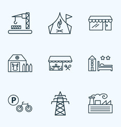 urban icons line style set with power tower farm vector image